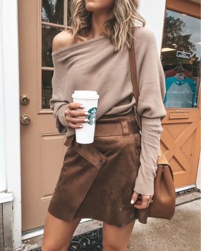 off the shoulder sweater cozy fall outfit