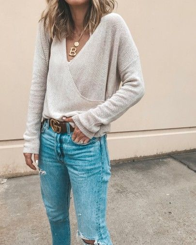 cross front seater cozy fall outfit