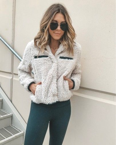 shearling jacket cozy fall outfit
