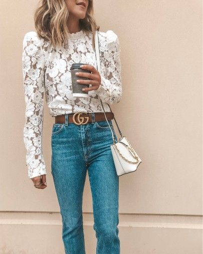 puff sleeve lace top outfit