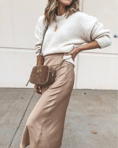 satin skirt cozy fall outfit