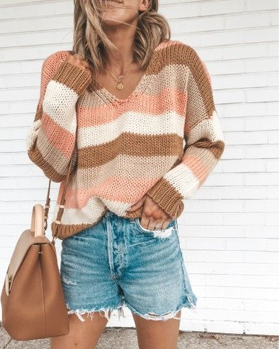 sweater denim shorts outfit