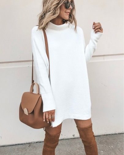 sweater dress cozy fall outfit