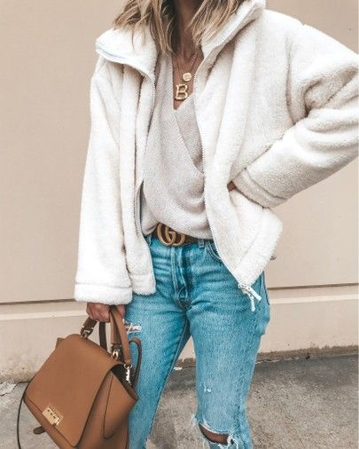 Free People fuzzy jacket cozy fall outfit