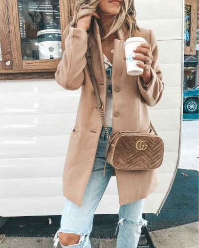 camel coat cozy fall outfit