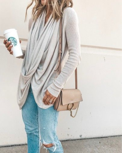 wrap sweater cozy fall outfit