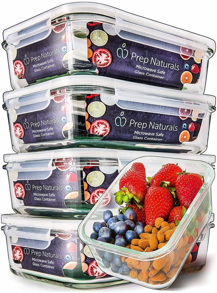 glass container set with lids for meal prep