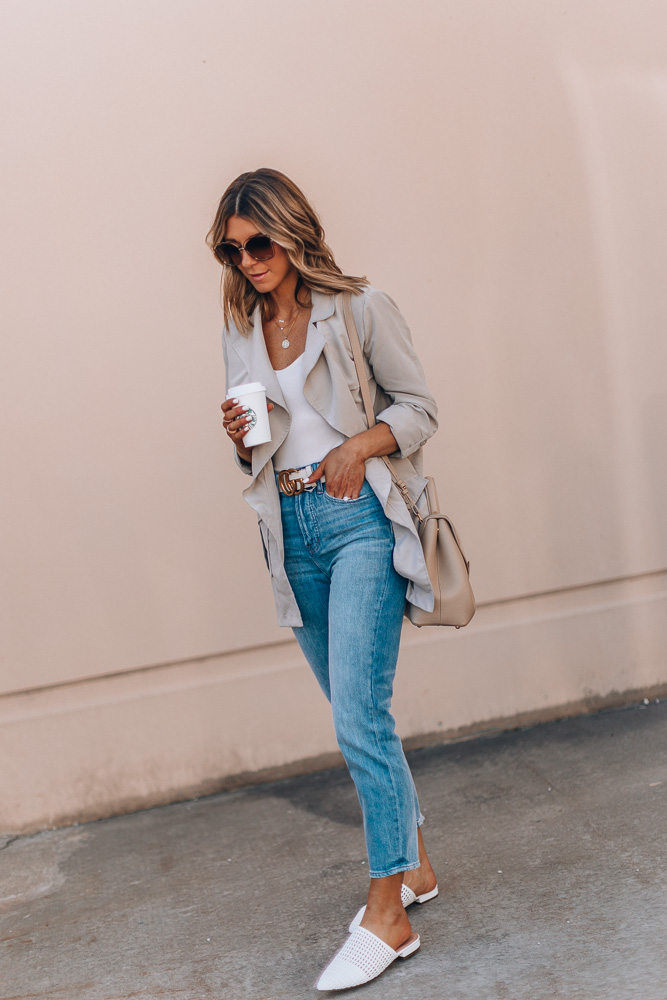 jeans and trench spring outfit