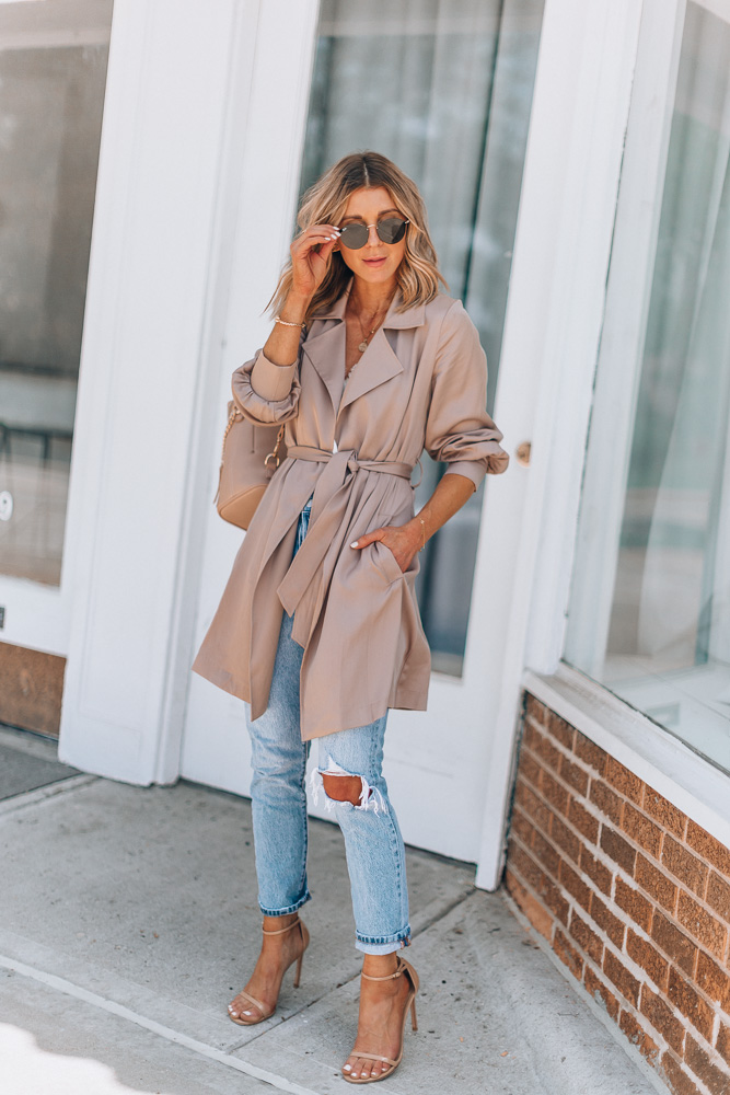 fashion blogger trench coat outfit idea