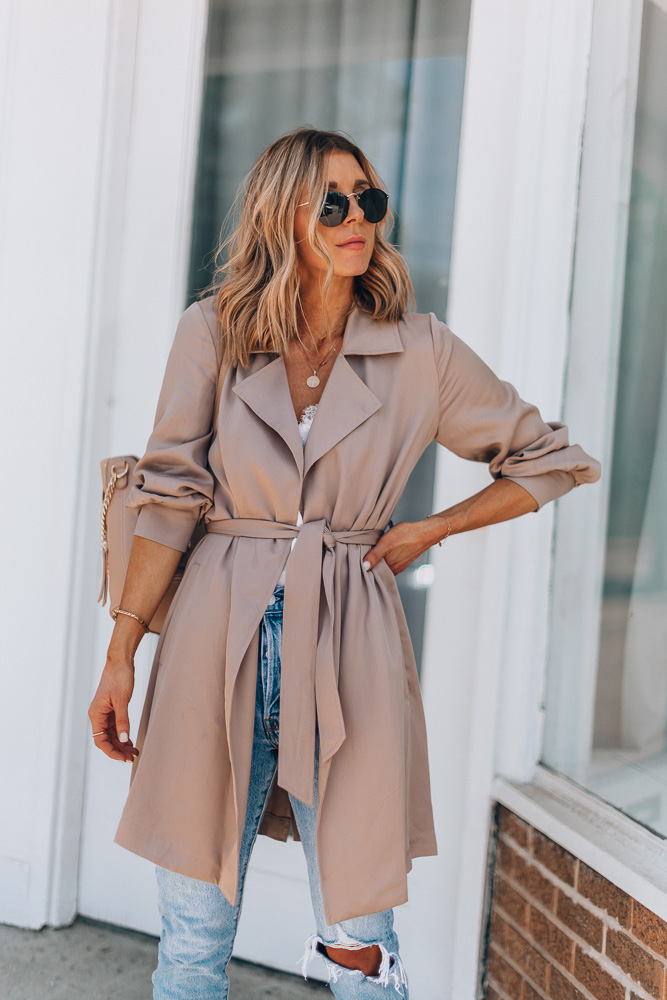 lightweight trench coat with waist-cinching tie