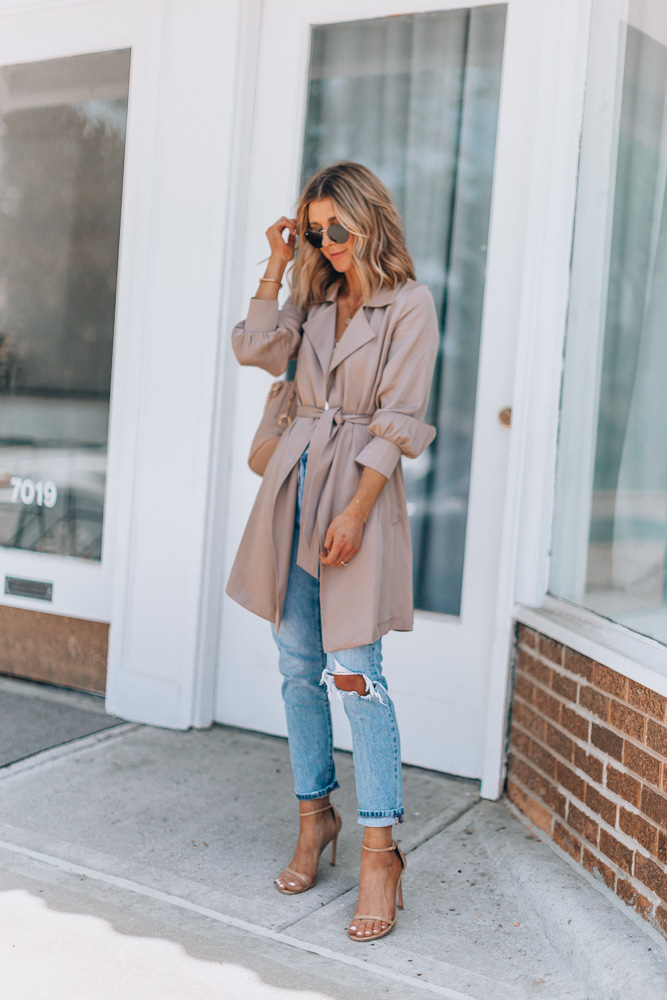 trench coat with jeans and heels
