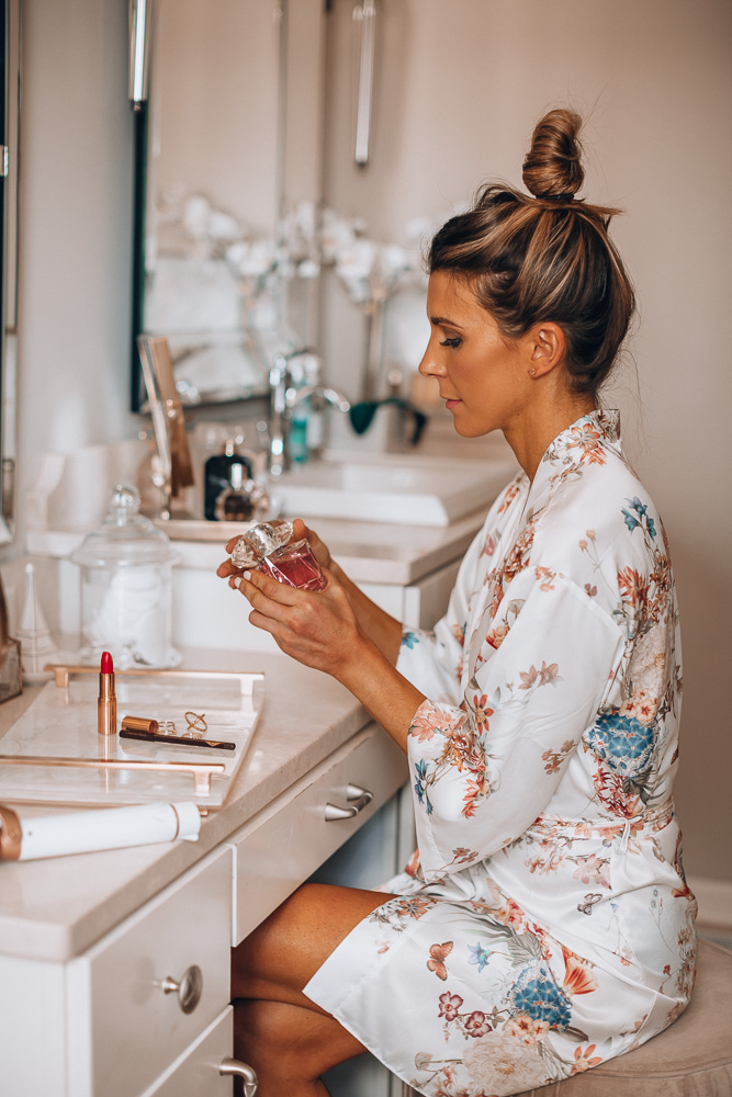 fashion blogger cella jane getting ready floral robe versace bright crystal perfume
