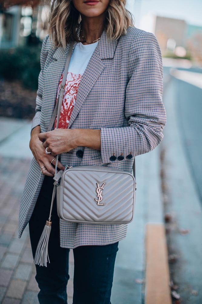 fashion blogger wearing annie bing madeleine checked blazer